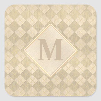 Elegant Brushed Gold Metal Look Argyle Pattern Square Sticker