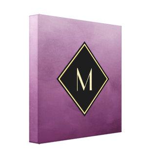 Elegant Brushed Purple With Simple Gold Monogram Canvas Print