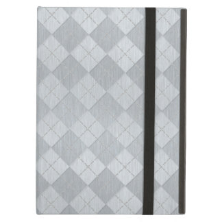 Elegant Brushed Silver Metal Look Argyle Pattern Case For iPad Air