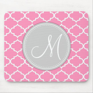 Elegant Bubblegum Pink Quatrefoil with Monogram Mouse Mat