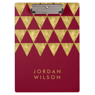 Elegant Burgundy and Faux Gold Triangle Clipboard