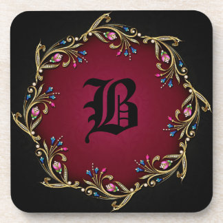 Elegant Burgundy & Black Monogram Coaster