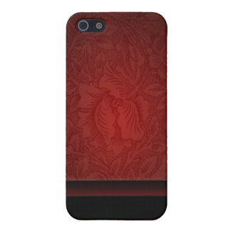 Elegant burgundy damask floral Wedding iPhone 5 Cover