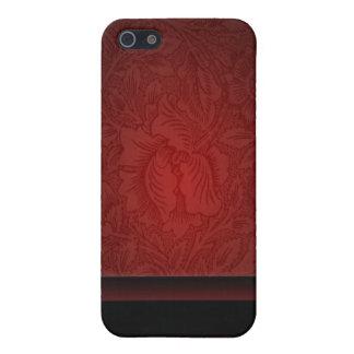Elegant burgundy damask floral Wedding iPhone 5 Cover