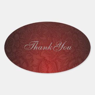 Elegant burgundy damask floral Wedding Oval Stickers