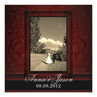 Elegant burgundy damask photo Wedding Invitation