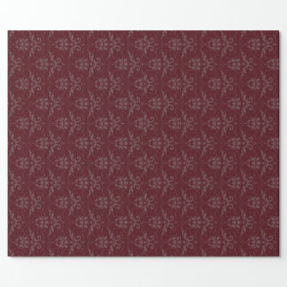 Elegant Burgundy Damask Wrapping Paper