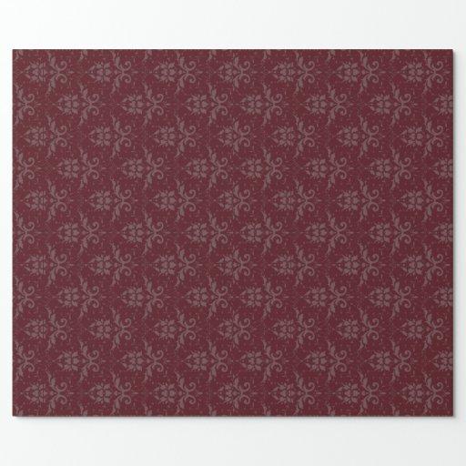 Elegant Burgundy Damask Wrapping Paper