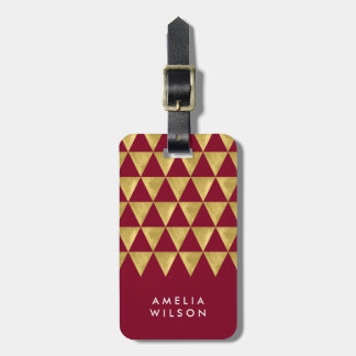 Elegant Burgundy Faux Gold Triangle Luggage Tag