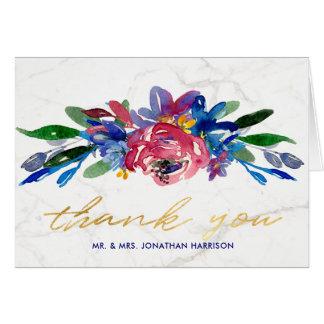 Elegant Burgundy Floral Hand Lettered Thank You Card