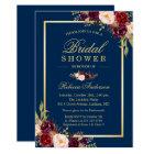 Elegant Burgundy Floral Navy Blue Bridal Shower Invitation