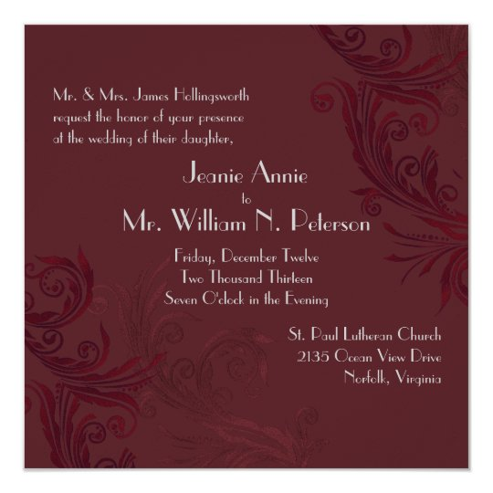 Elegant Burgundy Flourish Wedding Invitation
