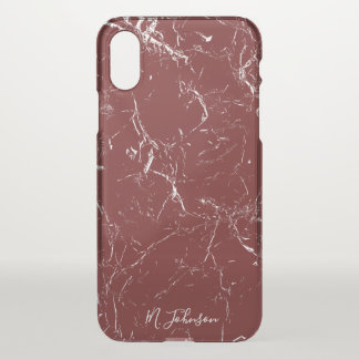 Elegant Burgundy Marble Personalised iPhone X Case
