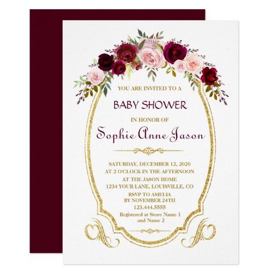 Elegant Burgundy Marsala Floral Fall Baby Shower Card