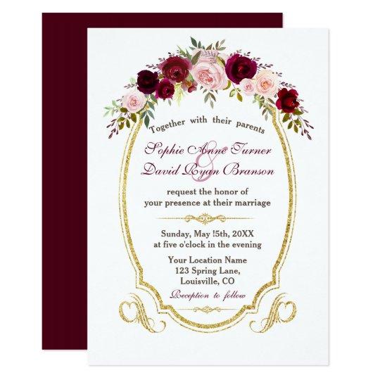 Elegant Burgundy Marsala Floral Fall Wedding Card