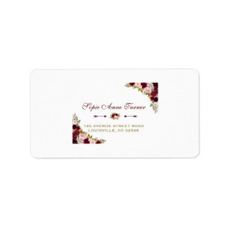 Elegant Burgundy Marsala Floral Fall Wedding Label