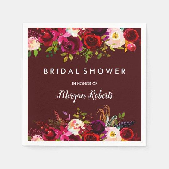 Elegant Burgundy Red Boho Floral Bridal Shower Paper Serviettes