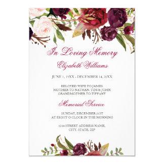 Elegant Burgundy Red Floral Memorial Service Card