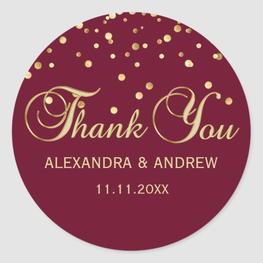 Elegant BURGUNDY Red Gold Wedding Thank You Classic