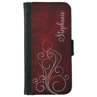 Elegant Burgundy Red Silver Swirl Personalized iPhone 6 Wallet Case