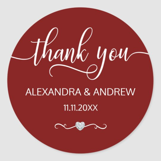 Elegant BURGUNDY White Script Wedding Thank You Classic