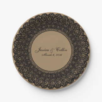 Elegant burlap brown & black lace doiley plate