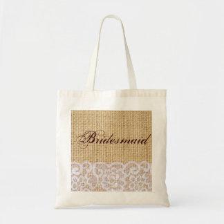 elegant burlap lace country rustic bridesmaid budget tote bag