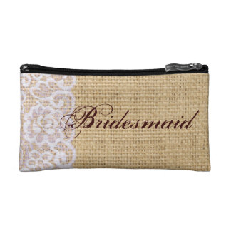 elegant burlap lace country rustic bridesmaid cosmetic bag