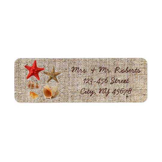 elegant burlap  nautical seashells beach wedding return address label