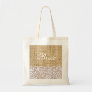 elegant burlap white lace country bride budget tote bag
