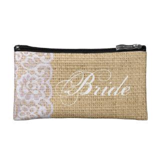 elegant burlap white lace country bride cosmetic bag