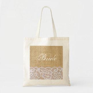 elegant burlap white lace country bride bags
