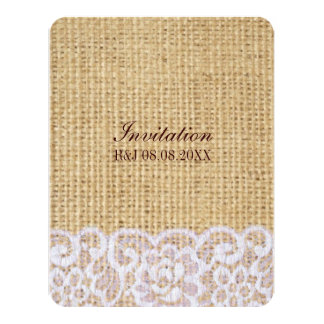 elegant burlap white lace country rustic wedding personalized invitation