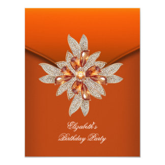 Elegant Burnt Orange Amber Birthday Party 11 Cm X 14 Cm Invitation Card