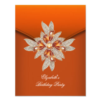 "Elegant Burnt Orange Amber Birthday Party 4.25"" X 5.5"" Invitation Card"