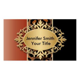 Elegant Burnt Orange and Black Leopard Print Pack Of Standard Business Cards