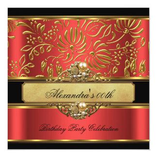 Elegant Burnt Orange Red Gold Damask Pearl Party 5.25x5.25 Square Paper Invitation Card