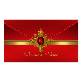 Elegant Business Card Red Gold Trim Red Jewel