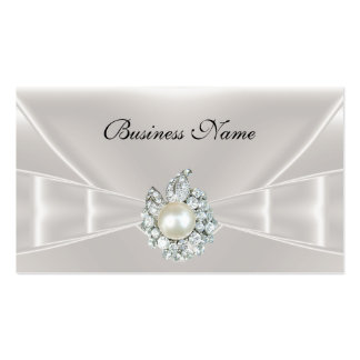 Elegant Business Card White Silk Bow Jewel