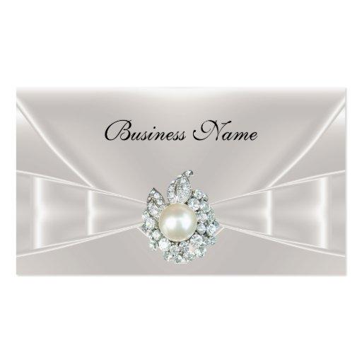 Elegant Business Card White Silk Bow Jewel