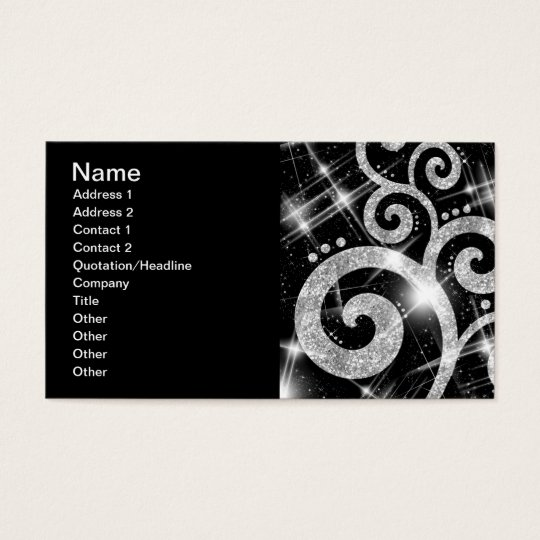 Elegant Business Silver Glitter Swirl Business Card