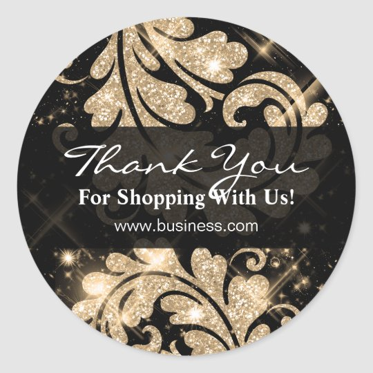 Elegant Business Thank You Gold Glitter Floral Classic