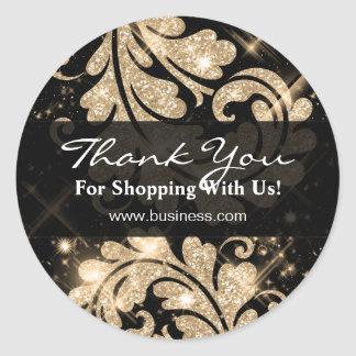 Elegant Business Thank You Gold Glitter Floral Classic Round Sticker