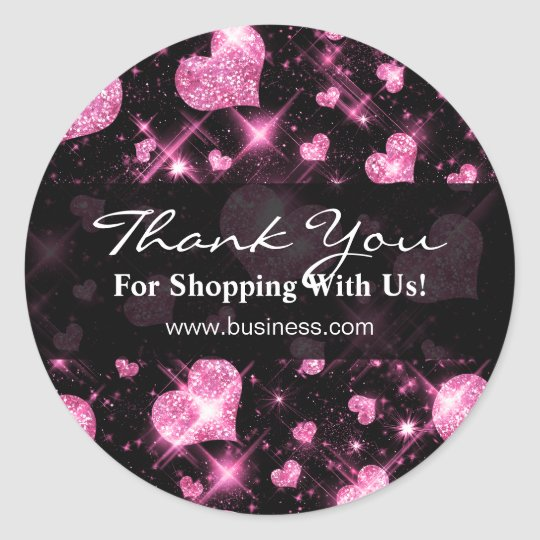 Elegant Business Thank You Pink Glitter Hearts Classic