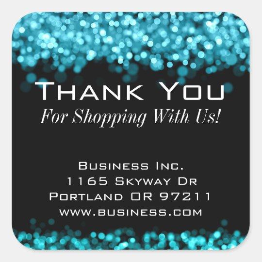 Elegant Business Thank You Sparkling Lights Blue Square