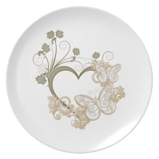 Elegant Butterflies and Flowers Heart Plates