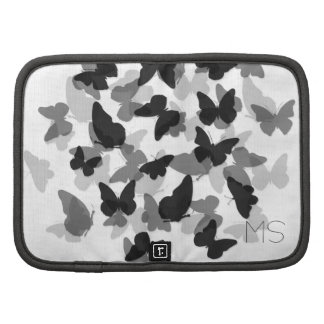 Elegant Butterflies Black Custom Initials Planner