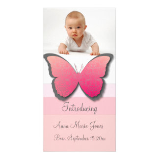 Elegant Butterfly Baby Announement Personalised Photo Card