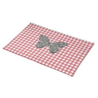 Elegant Butterfly On Red Gingham Placemat