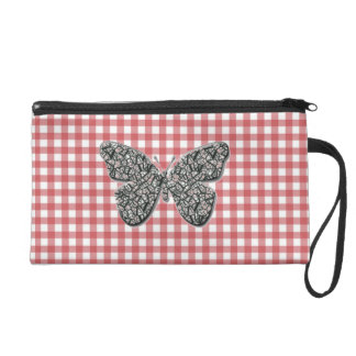 Elegant Butterfly On Red Gingham Wrist bag